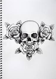 Rose And Skull Tattoo Paper
