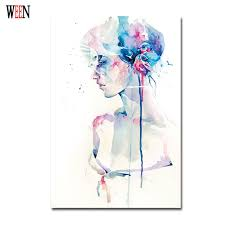 Elegant Girl Pictures Watercolor Paintings Abstract Wall Art Simple Canvas Print Poster Cuadros Decoracion Christmas