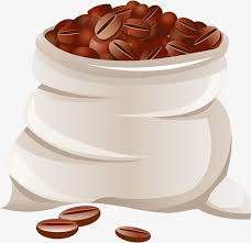 Hand Painted Brown Coffee Bean Bag Clipart Watercolor PNG Image And