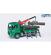 100 Bruder Tow Truck Man Tga Timber With Loading Crane And 3 Trunks