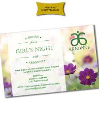 INSTANT DOWNLOAD Printable Arbonne Party Invitation Customizable Reusable Flowers