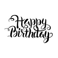 Black Happy Birthday Lettering over White Vector Illustration of