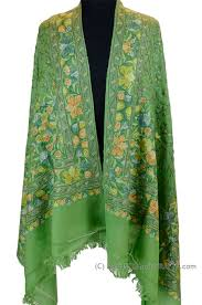 kashmir shawls jade green wrap hand embroidery floral pale greens