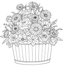 Barrel Of Flowers Adult Colouring Page Im Thinking Autumn Fall