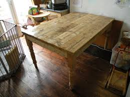Kitchen Table Made From Scaffolding Planks Pallet Wood And Old Legs