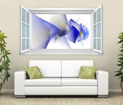3d wandtattoo fenster blau weiß blume figuren wand aufkleber wanddurchbruch wandbild wohnzimmer 11bd003 wandtattoos und leinwandbilder günstig