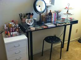 Furniture Glass Top Vanity Table With Makeup Storage Underneath