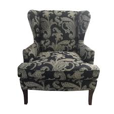 Kravet Black And White Paisley Fabric Upholstered Wingback Chair ... Fniture White Line Slipcover For Wing Chair Capvating Bedroom Astonishing Recliner Elegant Home Slip Covers Linen Wingback Black Arm Emerald And Amazoncom Tikami Slipcovers 2piece Spandex Stretch Purple Patterned Decofurnish Red Armless Room With Unique Richness Cover Intended Satisfying Petite Pottery Barn Modern Chairs Leather Grey Turquoise Double Diamond White Black Linen Wingback Slipcover Having Short Wooden Legs Pique Raven 710