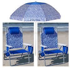 100 Nautica Folding Chairs 2 Teal Beach W Cooler Cup Holder 7 Blue Umbrella EBay