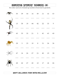 Halloween Multiplication Worksheets Grade 4 by Ordering Halloween Spiders U0027 Number Sets To 50 A