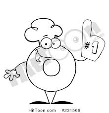 Coloring Page Outline Of A Donut Character Wearing Chef Hat And Number One Glove 231566
