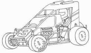 Dirt Sprint Car Coloring Page Sketch