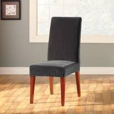 Sure Fit Dining Chair Slipcovers by Sure Fit Stretch Leather Ebony Dining Chair Slipcover
