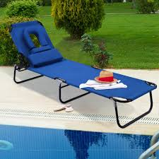 Costway Patio Foldable Chaise Lounge Chair Bed Outdoor Beach Camping  Recliner Pool Yard