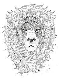 Lion Head Coloring Page Vector Art