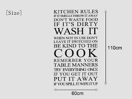 Aliexpress Buy Large Quote Kitchen Rules Vinyl Wall Art Sticker Stickers For Decor Free Shipping Size 60110cm From Reliable Girl
