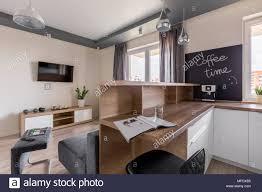 modernes apartment mit küche offen zum wohnzimmer