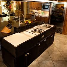 Astonishing Design Of The Kitchen Island With Black Wooden Cabinets Added Silver Sink Ideas