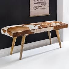 finebuy sitzbank ziegenfell massivholz bank 120 x 40 x 52 cm polsterbank flur esszimmer braun kleine bettbank fell dielenmöbel flurbank