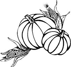 Pumpkins Corn Coloring Page