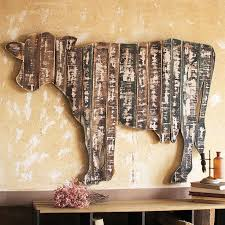 Reclaimed Wood Cow Wall Art