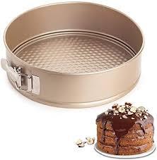 bestzy springform runde kuchenform aus stahl mit antihaftbeschichtung kleine backform mit flachboden ø 18 cm für 1 2 rezeptportion auslaufsicher gold