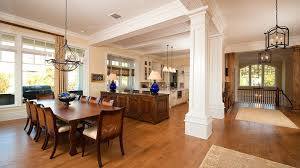 Open Plan Kitchen With Pillars Dining Room Restaurant Pictures Traditional Small 990 X 556