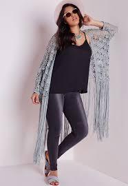 plus size crochet long tassel cardigan grey plus size knitwear