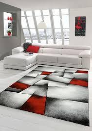 designer teppich moderner teppich wohnzimmer teppich kurzflor teppich mit konturenschnitt karo muster rot grau weiß schwarz größe 200 x 290 cm