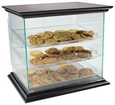 Cookie Display Case With Mahogany Canopy And Base Countertop Green Edge Acrylic Hinged