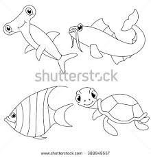 Underwater Sea Animals Coloring Page With Fishturtle