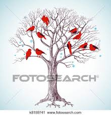 Clipart Winter tree and singing birds Fotosearch Search Clip Art Illustration Murals