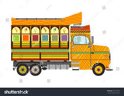 Funny Cartoon Indian Jingle Truck On Stock Vector (Royalty Free ...