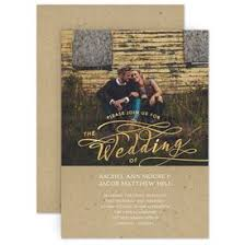 Rustic Wedding Invitations Glow Foil Invitation