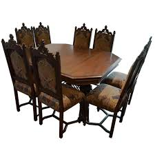 Antique Gothic Style Dining Table With Eight Chairs Three Leafs 1