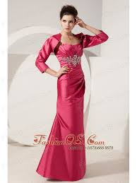 Perfect Hot Pink Column Beading Mother Of The Bride Dress Strapless Floor Length Satin