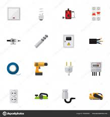 set of 16 editable electrical flat icons includes symbols such as