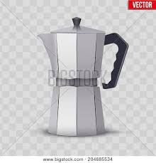 Classic Metal Coffee Maker Vintage Style Editable Vector Illustration Isolated On Transparent Background