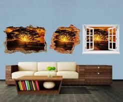 3d wandsticker afrika sonnenuntergang aufkleber wand deko wandbild 3d effekt fenster mauer wandaufkleber sticker m0001