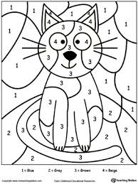 Color By Number Cat Printable