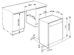 STX3CL Smeg 60cm Semi Integrated Dishwasher Technical Drawing In Mm