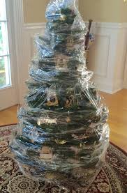 Saran Wrap Christmas Tree With Ornaments by Fun With Barb Hello Out There