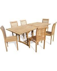 Outdoor Windsor Teak Furniture Buckingham Rectangular 7 Piece Patio Dining Set