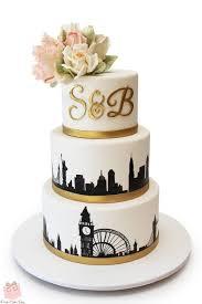 London NYC Skyline Wedding Cake