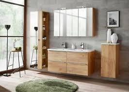 details zu badmöbel set eiche gold 120 cm mit doppelwaschbecken led soft