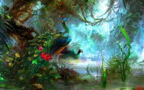 Peacocks Fantasy Art Birds Vines Forest HD Wallpaper Desktop Background