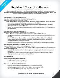 Registered Nurse Resume Sample Samples Free Occupational Examples Professional Template