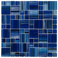 Glazzio Tiles Versailles Series by Glass Tile Cobalt Blue Textured Iridescent Glass Blend 1