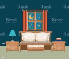 hintergrundfarbe der schlafzimmer mit fenster in der nachtquerformat stock vektor und mehr bilder abenddämmerung