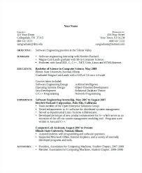 Sample Computer Science Resume Internship Engineering Lecturer